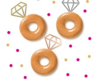 Glitter Diamond Donut/Cupcake Toppers - Set of 12