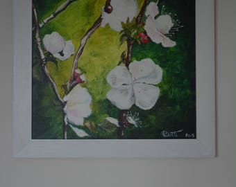 "Blooming Apple Tree Acrylic Painting on Canvas Framed 19"" x 19"""