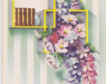 Vintage 1940s note card with flowers and bookshelf -- a Handi-Note by Artistic Cards