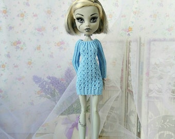 "Monster High Dresses Doll GalactikaMagicThread ""Blue Mini Dress""  fashion doll crochet"