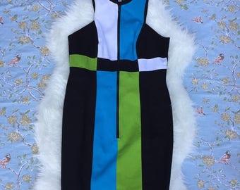 Vintage 1980s/90s Linda Segal color block dress