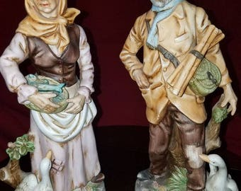 "Rare 13"" UCGC Taiwan Collectible Porcelain Figurines ""Old Man and Old Woman with Ducks"""