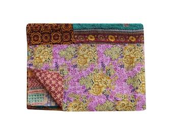 Reversible Kantha Quilt Handmade Kantha Blanket Cotton Sari Patchwork Kantha Bedspread Twin Size Kantha Throw Floral Print Kantha Bed Cover
