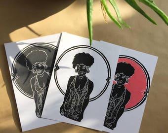 linoprint afro woman
