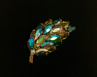 Aurora Borealis Green and Teal Rhinestone Brooch