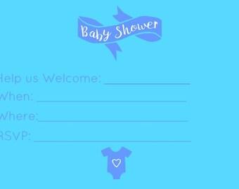 Boy Baby Shower Invitation Blank * INSTANT DOWNLOAD*