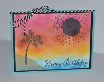 Hand Stamped Sunset Birthday Card