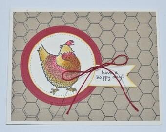 Hand Stamped Chicken Coop Birthday Card