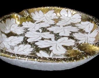 Bitossi Mid Century Modern MCM Italian Gold Leaves Cigar Ashtray
