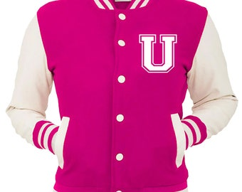 Personalized Pink Varsity Jacket, Base Ball Jacket, Letterman Jacket Pink & White - Custom Letter U