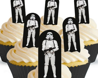 Toppershack 12 x PRE-CUT Stormtrooper Star Wars Cake Toppers