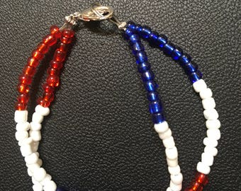Red, White and Blue Double Glass Bead Bracelet