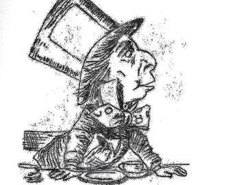 Alice in Wonderland, Mad Hatter, Mono Print.