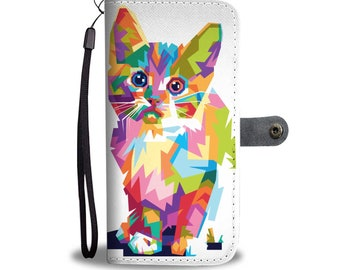 Cat Leather Like Flip Cover Phone Case