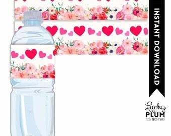 Valentines Water Bottle Label / Valentines Napkin Ring / Cupid Heart Water Bottle Label / Red Pink Floral Napkin Ring / DIY Printable VL01