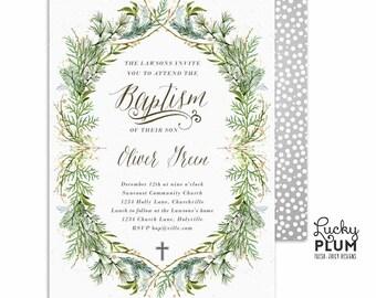 Baptism Invitation / Boy Baptism Invitation / Winter Baptism Invitation / Green Greenery / Christening First Communion DIY Printable