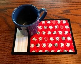 kit; pair of sweet sheep mug rugs, cute and easy to make