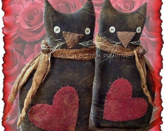MAILED PAPER PATTERN~Primitive Valentine Kitty Cat Sitter Doll Sewing Pattern