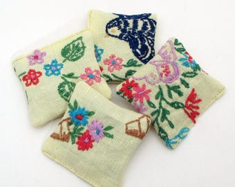 4 Dried Lavender Sachets - Sunny Yellow - Blue Birds - Embroidered Sachets - Stocking Stuffers - Vintage Linens - Embroidery - Party Favors