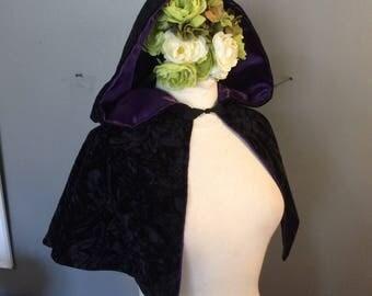black hooded capelet crushed velvet shoulder cape with purple satin