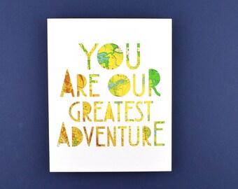Travel Themed Nursery Art, Nursery Gallery Wall Decor, Travel Theme Baby Shower Gift, Bright Nursery Art, Greatest Adventure, Unframed Art