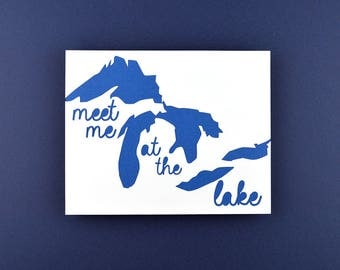 Lake House Decor, Michigan Gift, Great Lakes Art, Lake House Art, Gift Ideas, Michigan Art, Meet Me at the Lake