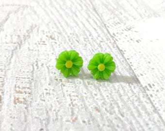 Little Lime Green Gerbera Daisy Stud Earrings, Surgical Steel Posts, Small Carved Spring Easter Daisies for Flower Girls and Weddings (SE18)