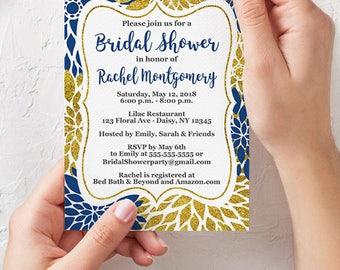 Bridal Shower Invite Navy and gold Floral Burst Invitation Digital Gold Glitter Shower Printable 5x7 Digital JPG File (603)