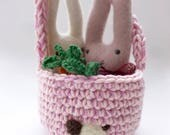 Bunnies in a basket set Waldorf inspired ready to ship Easter