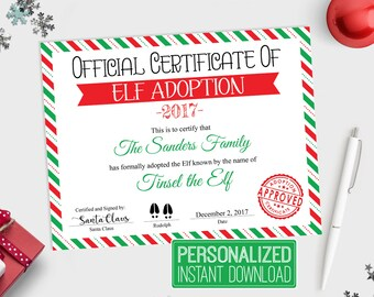 Adoption certificate etsy personalized elf adoption certificate printable elf adoption papers customized elf printable printable elf yadclub Gallery