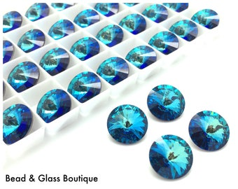 Swarovski Crystal Rivoli, 14mm, 4 pieces, Bermuda Blue