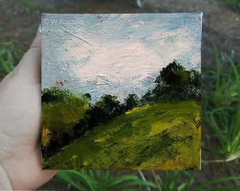 Green Hills, Trees, Blue Sky, Clouds, Small Art, Original Painting, Landscape Painting, 4x4, Home Decor, Office, Wall art, Gift, Winjimir