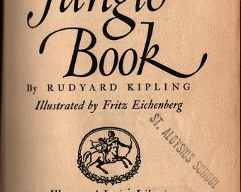 The Jungle Book - Rudyard Kipling - Fritz Eichenberg - 1950 - Vintage Kids Book