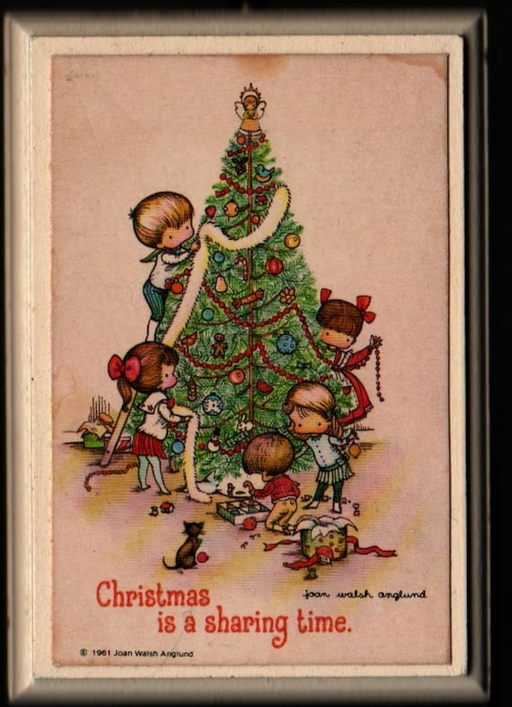 Christmas is a Sharing Time Wall Hanging Plaque - Joan Walsh Anglund - 1961 - Vintage Home Decor