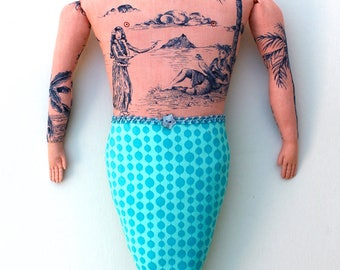 Big Merman with Tattoos Beard doll toile