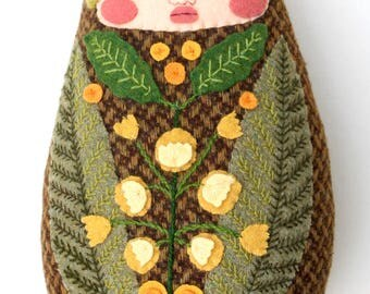 Flower and Fern Embroidered Folk Art Swaddled Baby wool doll