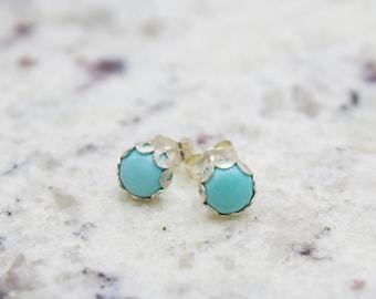 Turquoise Stud Earrings - Stud earrings - Post Earrings  - Gemstone Earrings - Turquoise Earrings - Turquoise Jewelry - Stone Earrings