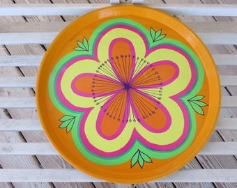 Groovy Round Decorative Tin Serving Tray by Anita Wangel - 60s Mod Flower Pattern