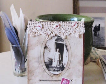 Collage on authentic Victorian album page, Remembrance of Things Past, mixed media art