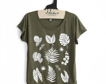 Small-  Tri-Blend Olive Dolman Tee with Plant Print Screen Print-