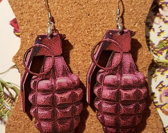 Pink Grenade Earrings blue grenade earrings explosive earrings military earrings the bomb earrings