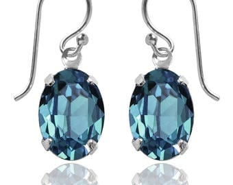 Swarovski Crystal Oval Drop Earrings Sterling Silver Indicolite or CHOICE OF COLOURS