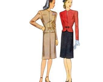 40s uncut Skirt Suit pattern Tailored Jacket pattern vintage 32-26-35 Pencil Skirt pattern Noir Simplicity 1225