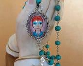 Big Eye Bowie Rosary Aqua Beads