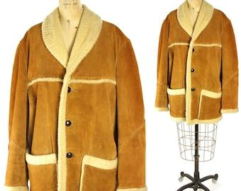 70's Sherpa Ranch Coat / Vintage 1970s Suede Sheepskin Lined Jacket / Southwest Western Cowboy Boho Hippie Rugged Warm Chore Coat Women's SM
