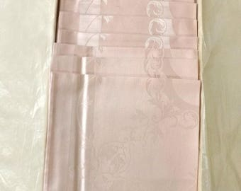 Pink Damask Cloth Napkins, Set of 12, Luxor Pattern in Box, Made by Kureha Japan
