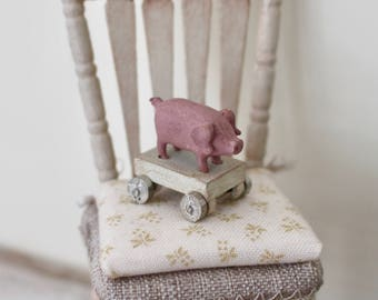 Dolls House Miniature Shabby Pig Toy