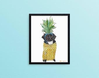 Pineapple Decor Gift, Dachshund Art Gift, Pineapple Wall Art, Cute Dachshund Gift, Dog Lover Gifts For Women, Funny Animal Art Print