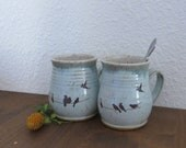 Mug Cup Set of 2 - Handmade Stoneware Ceramic Pottery - Hinting Blue and White - Birds - 16 ounce