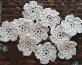 Crocheted linen flowers -- set of 10 -- off white